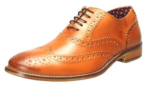 London Brogues Gatsby Lace Up Shoes Tan
